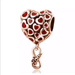 NEW•Rosegold Heart shaped DIY charm w/infinity dgl